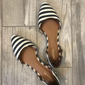 Merona Blue & Cream Striped D'Orsay Flats